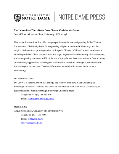 The University of Notre Dame Press Chinese Christianities Series Flyer